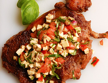 Ribeye with Caprese Salad