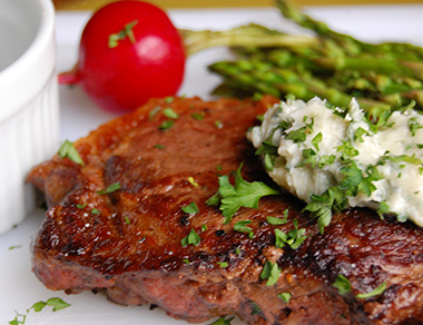 New York Strip Steak with Gorgonzola Butter