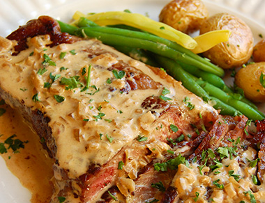 New York Strip with Brandy Mustard Cream Sauce